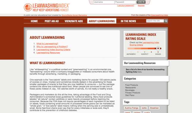 Leanwashing Index site